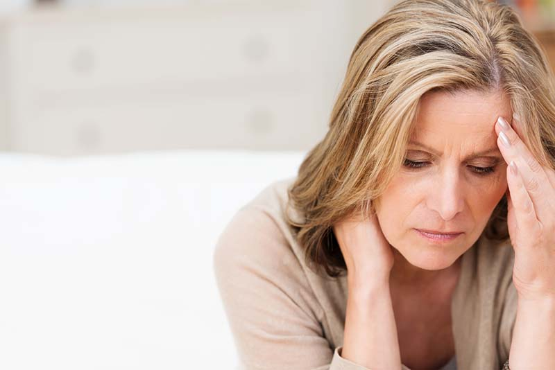 image of a sad middle aged white lady